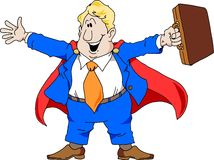 Super Salesman. Cartoon illustration of an excited salesman wearing a super hero cape Stock Photos