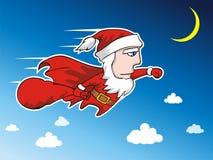 Super Santa 1. Super Santa fly at the sky Royalty Free Stock Image