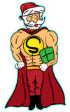 Super Santa Holding Present Stock Images