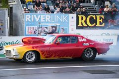 Super Sedan Category 2018 Winternationals Ipswich Australia. A modified Camaro super sedan at the starting line during the celebration of the 2018 Gulf western royalty free stock images