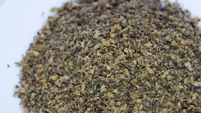 Super Seed Mix of milled colden linseed, hempseed and chia seed stock video