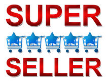 Super Seller Five Star. Text Super Seller in red with five carts and star in the middle vector illustration