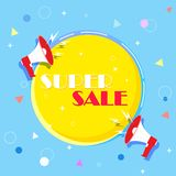 Super selling banner, colorful and playful design, colors. Banner for your text with a megaphone. Vector illustration stock illustration