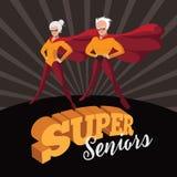 Super seniors cartoon style illustration. Royalty Free Stock Photography