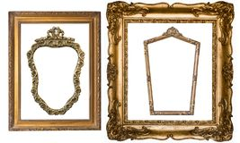 Super set of gorgeous vintage gold frames for paintings and mirr stock photography