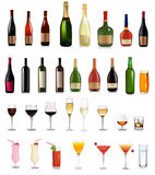 Super Set Of Different Bottles Drinks And Cocktail Royalty Free Stock Photos