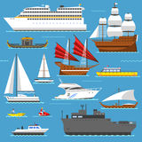 Super set of water ships boats transport vector illustration. Yacht, wherry, hovercraft. Water ship transport sea boat set Stock Images