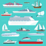 Super set of water ships carriage maritime boat, vessel, warship, yacht, wherry, hovercraft transport in modern flat Stock Images