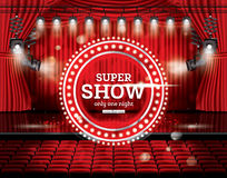 Super Show. Open Red Curtains with Spotlights. Royalty Free Stock Image