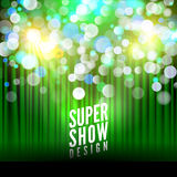 Super show poster template with bokeh lights. Greeting, theater, concert, musical dance, presentation. Beautiful scene. With curtains. Vector illustration Stock Images