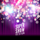 Super show poster template with bokeh lights. Greeting, theater, concert, musical dance, presentation. Beautiful scene. With curtains. Vector illustration Stock Photography