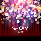 Super show poster template with bokeh lights. Greeting, theater, concert, musical dance, presentation. Beautiful scene. With curtains. Vector illustration Royalty Free Stock Photography