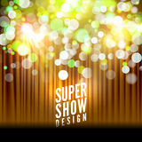 Super show poster template with bokeh lights. Greeting, theater, concert, musical dance, presentation. Beautiful scene. With curtains. Vector illustration Royalty Free Stock Photos