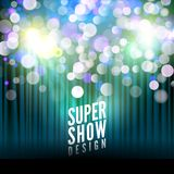 Super show poster template with bokeh lights. Greeting, theater, concert, musical dance, presentation. Beautiful scene with curtai. Ns. Vector illustration Royalty Free Stock Photography