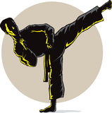 Super Sidekick in shadow. Illustration of a standing side kick Royalty Free Stock Images
