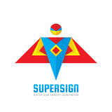 Super sign - vector logo template concept in flat style. People human character. Hero symbol. Super icon. Flying man. Design element stock illustration