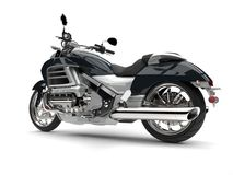 Super silbernes modernes leistungsfähiges Motorrad - Seitenansicht stock abbildung
