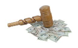 Super Sized Wooden Gavel on a Pile of Money Royalty Free Stock Photo
