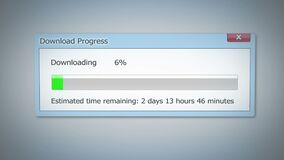 Super slow Internet, downloading dialog box shows little progress, outdated tech. Stock footage vector illustration