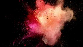 Super slow motion of colored powder explosion. Isolated on black background. Filmed on high speed cinema camera, 1000fps stock footage