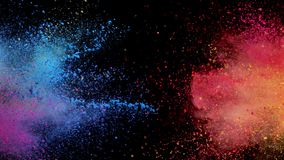 Colored powder explosion. Super slow motion of coloured powder explosion isolated on black background. Filmed on high speed cinema camera, 1000fps stock footage