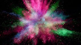 Coloured powder explosion. Super slow motion of coloured powder explosion isolated on black background. Filmed on high speed cinema camera, 1000fps stock video footage