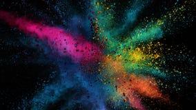 Super slow motion of coloured powder explosion isolated on black background. Filmed on high speed cinema camera Phantom VEO 4k, 1000fps stock footage