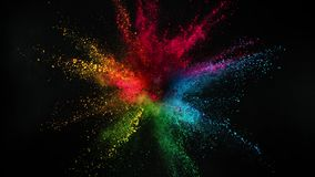 Super slow motion of coloured powder explosion isolated on black background. Filmed on high speed cinema camera Phantom VEO 4k, 1000fps stock video footage