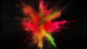 Super slow motion of coloured powder explosion isolated on black background. Filmed on high speed cinema camera Phantom VEO 4k, 1000fps stock video