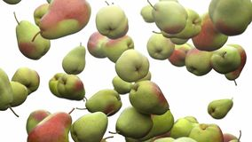 Super slow motion: falling pear against white background. High quality 4K seamless loopable CG animation. 3D. Rendering stock illustration