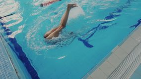 Super slow motion. Top view of skillful female swimmer while she swims backstroke style in the pool and performing. Super slow motion. Skillful female swimmer stock video footage
