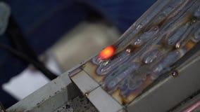 Super slow vdo Apprentice Metal Worker Welding In Factory
