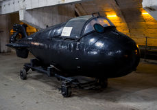 Super small submarine `Triton`, an underground museum complex Balaklava Stock Photography