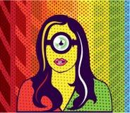 Super Smart Alien nerd pop Art Stock Images