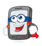 Super smartphone. Clipart picture of a super smartphone cartoon character Stock Image
