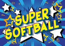Super Softball - Comic book style words. Super Softball - Vector illustrated comic book style phrase on abstract background stock illustration