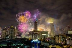 Super Sonic Firework Celebration toont op January1,2018 tijdens de Aftelprocedure 2018 van Bangkok bij CentralWorld-Vierkant, Rat Royalty-vrije Stock Afbeelding