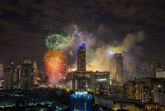 Super Sonic Firework Celebration toont op January1,2018 tijdens de Aftelprocedure 2018 van Bangkok bij CentralWorld-Vierkant, Rat Royalty-vrije Stock Afbeeldingen