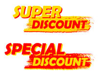 Super and special discount, yellow and red drawn labels Stock Images