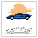 Super speed blue cars side view stock illustration