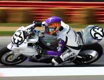 Super Sport bike race. Pro Motorcycle rider is racing his KTM RC8R race bike at the pro bike race event for the KTM/HMC Racing team royalty free stock images