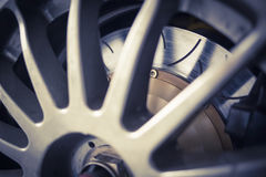 Super sport car alloy wheel disc brake Royalty Free Stock Photography