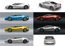 Super sport car in different colors and perspective Stock Images