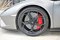 Super sport car. Front wheel. Super Sport Racing Car Detail on a Wheel and Breaks Stock Images