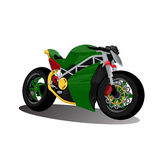 Super sport extreme green bike motorcycle Stock Photography