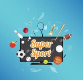 Super Sport on smart television screen with sport equipment floating on exploded smart television. A Super Sport on smart television screen with sport equipment Stock Photos