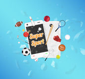Super Sport on smartphone screen with sport equipment floating on exploded smartphone. A Super Sport on smartphone screen with sport equipment floating on Royalty Free Stock Image