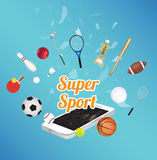 Super Sport on smartphone screen with sport equipment floating on exploded smartphone. A Super Sport on smartphone screen with sport equipment floating on Stock Photos