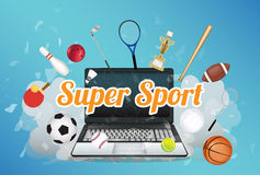 Super Sport  with sport equipment floating on exploded laptop Royalty Free Stock Images