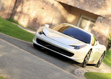 Super sports car. Image of a white color superb and stylish sports ferrari car Royalty Free Stock Photos